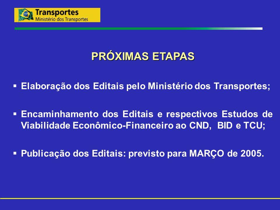 PRÓXIMAS ETAPAS Elaboração dos Editais pelo Ministério dos Transportes;