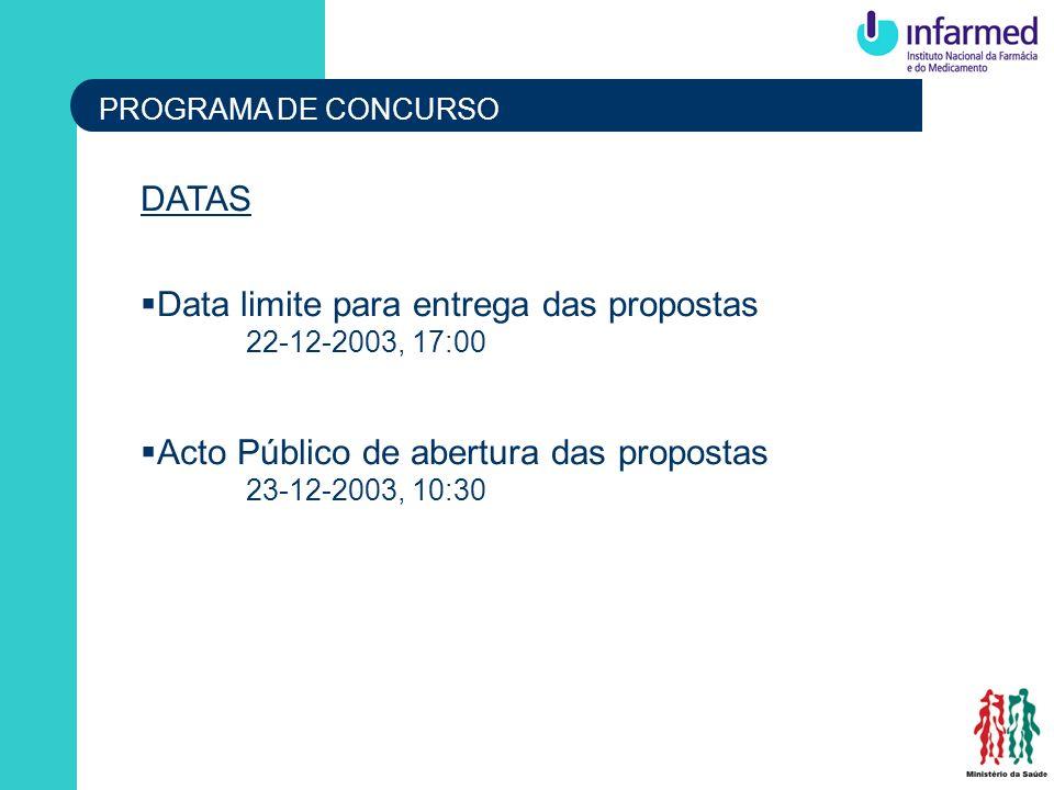 Data limite para entrega das propostas