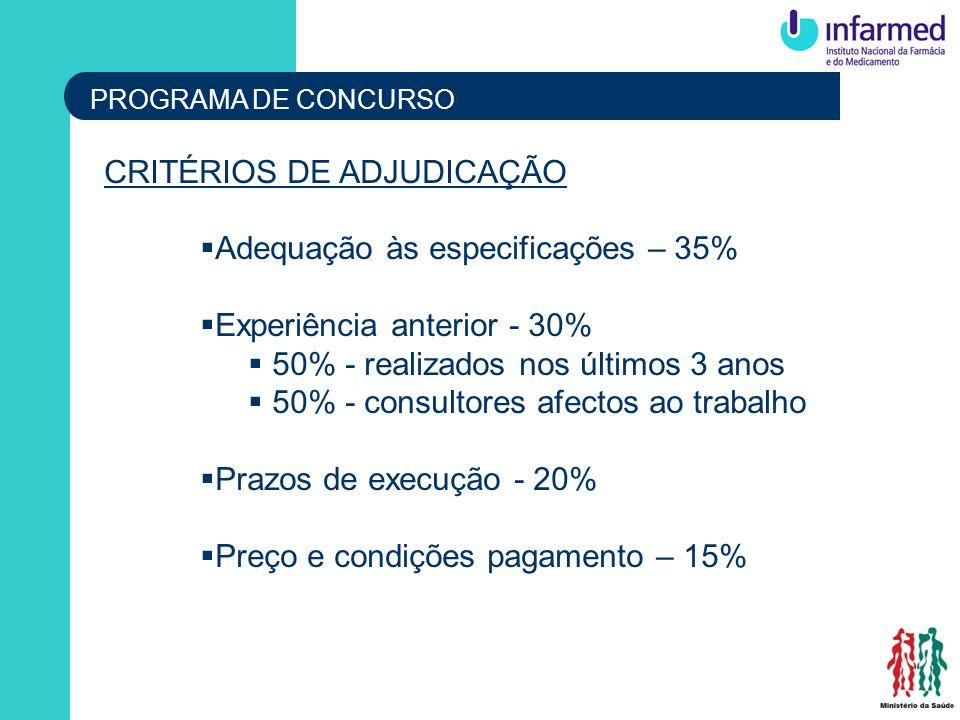 CRITÉRIOS DE ADJUDICAÇÃO Adequação às especificações – 35%