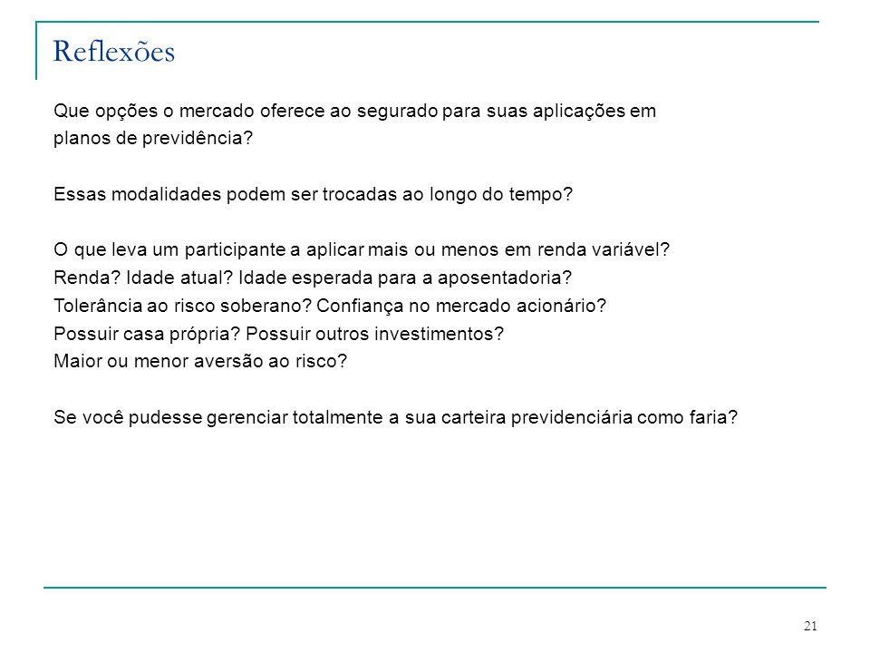 Reflexões Que opções o mercado oferece ao segurado para suas aplicações em. planos de previdência