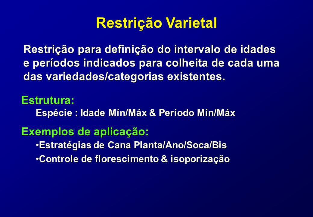 Restrição Varietal Restrição para definição do intervalo de idades