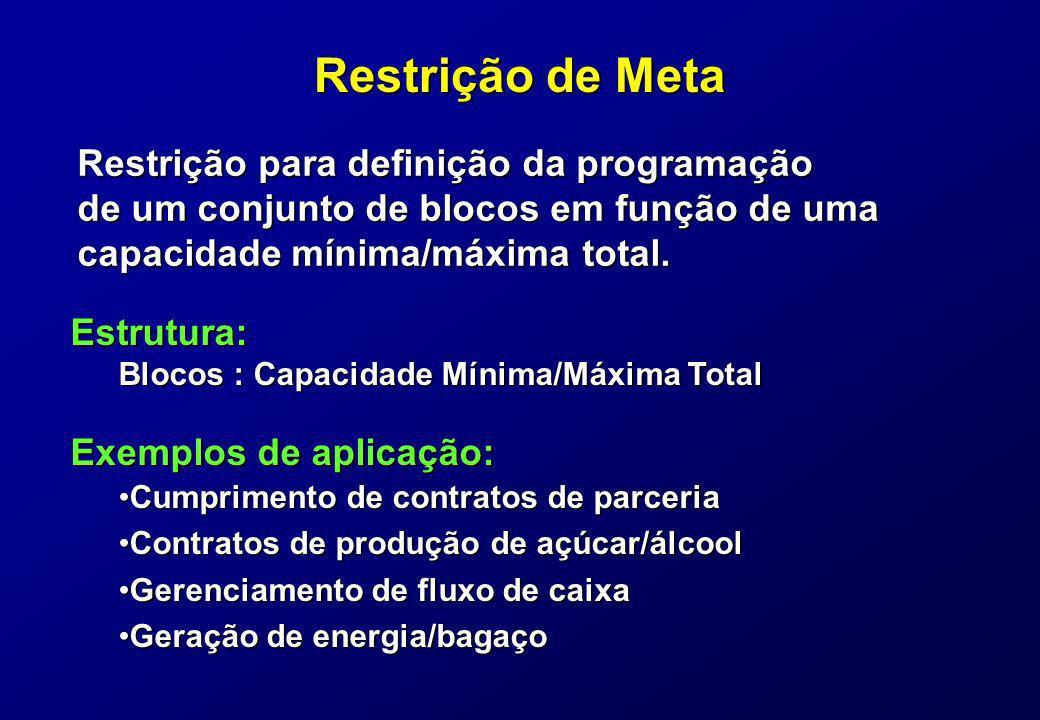 Restrição de Meta Restrição para definição da programação