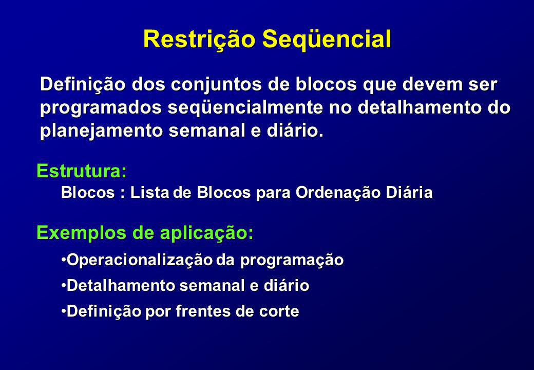 Restrição Seqüencial Definição dos conjuntos de blocos que devem ser programados seqüencialmente no detalhamento do.