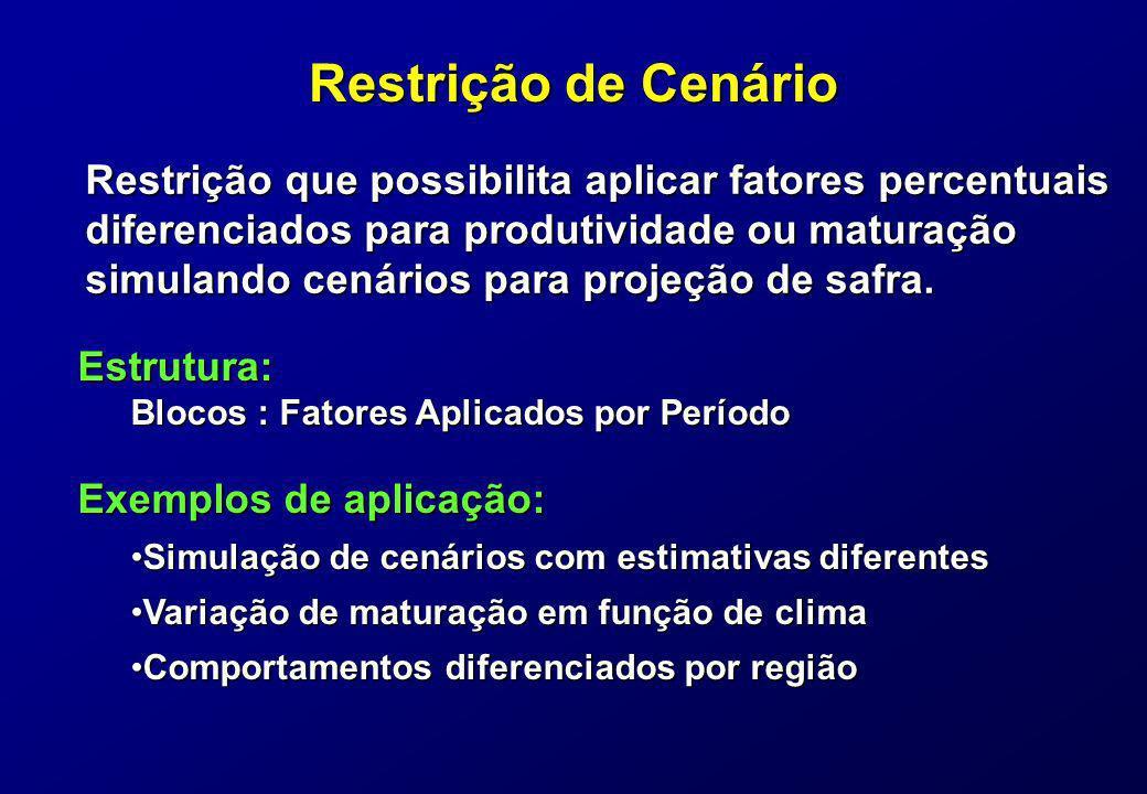 Restrição de Cenário Restrição que possibilita aplicar fatores percentuais.