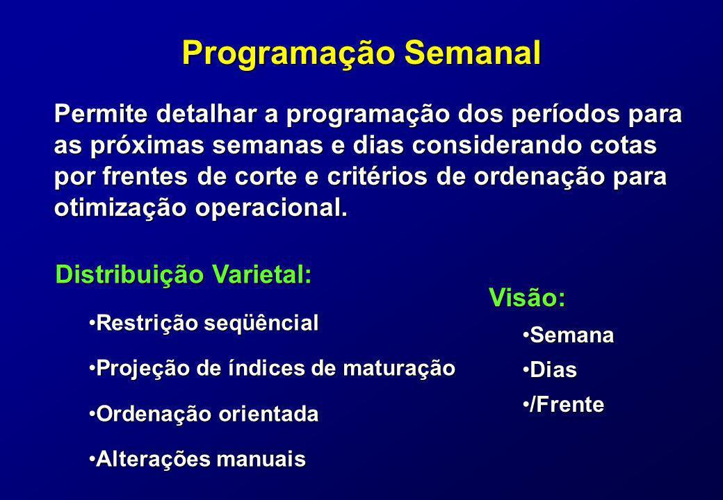 Programação Semanal Permite detalhar a programação dos períodos para