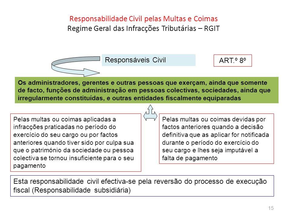 Responsabilidade Civil pelas Multas e Coimas Regime Geral das Infracções Tributárias – RGIT