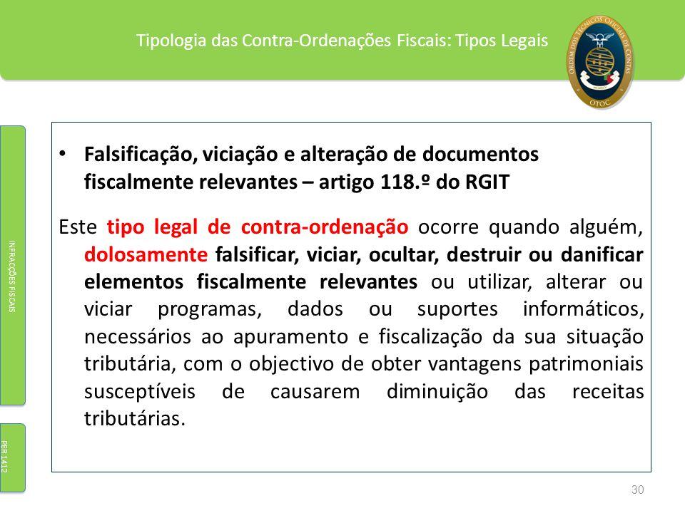 Tipologia das Contra-Ordenações Fiscais: Tipos Legais