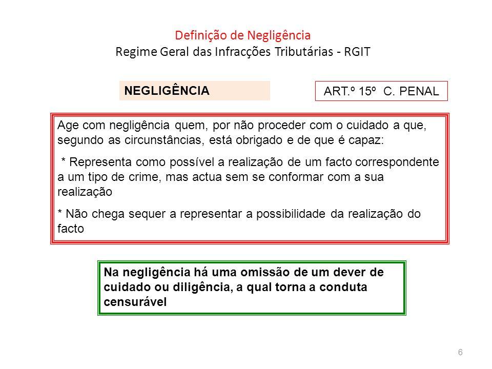 Definição de Negligência Regime Geral das Infracções Tributárias - RGIT