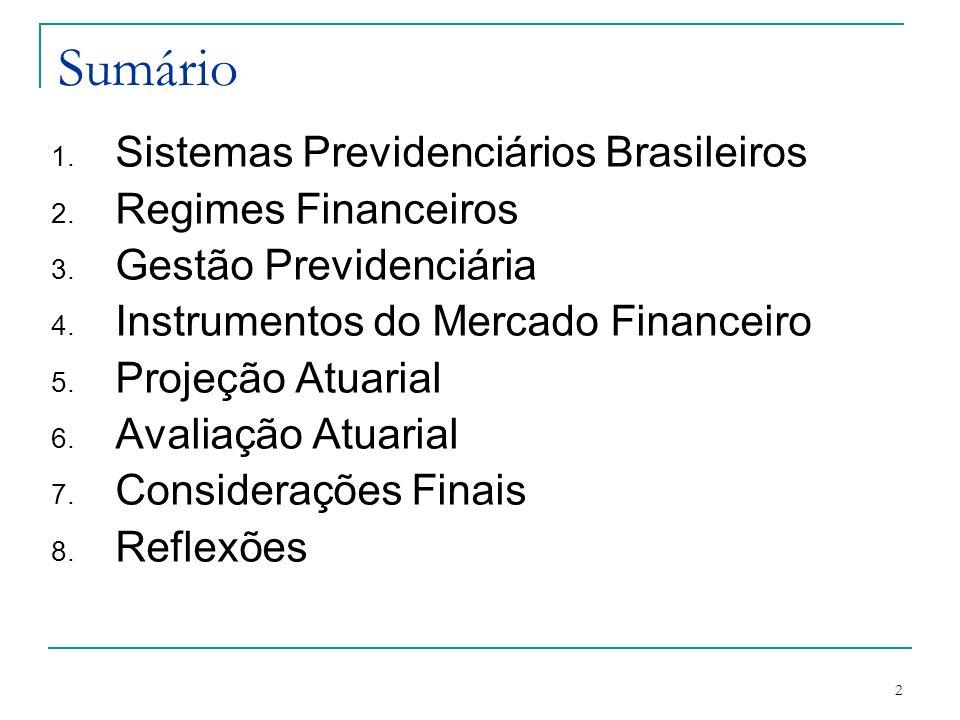 Sumário Sistemas Previdenciários Brasileiros Regimes Financeiros