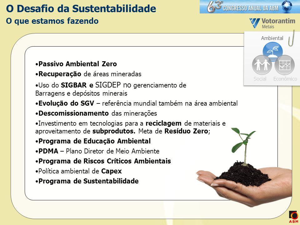 O Desafio da Sustentabilidade O que estamos fazendo