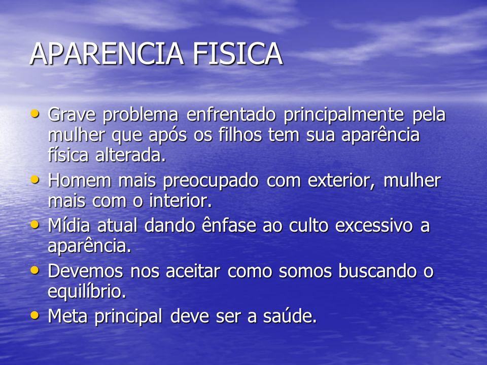 APARENCIA FISICA Grave problema enfrentado principalmente pela mulher que após os filhos tem sua aparência física alterada.