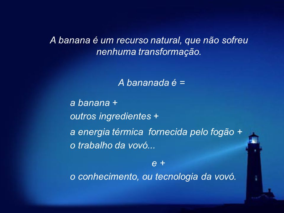 A banana é um recurso natural, que não sofreu nenhuma transformação.
