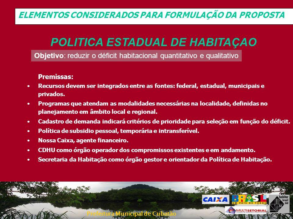 POLITICA ESTADUAL DE HABITAÇAO