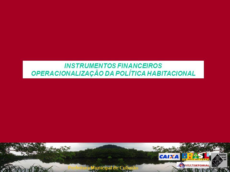 INSTRUMENTOS FINANCEIROS OPERACIONALIZAÇÃO DA POLÍTICA HABITACIONAL
