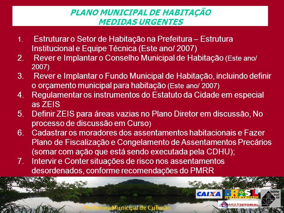 PLANO MUNICIPAL DE HABITAÇÃO MEDIDAS URGENTES