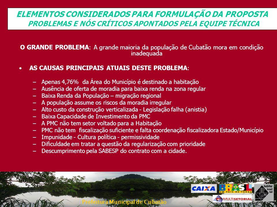 ELEMENTOS CONSIDERADOS PARA FORMULAÇÃO DA PROPOSTA PROBLEMAS E NÓS CRÍTICOS APONTADOS PELA EQUIPE TÉCNICA