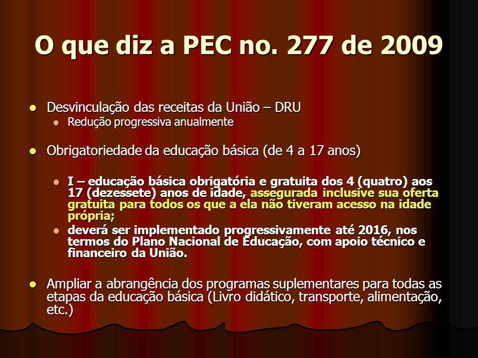 O que diz a PEC no. 277 de 2009 Desvinculação das receitas da União – DRU. Redução progressiva anualmente.