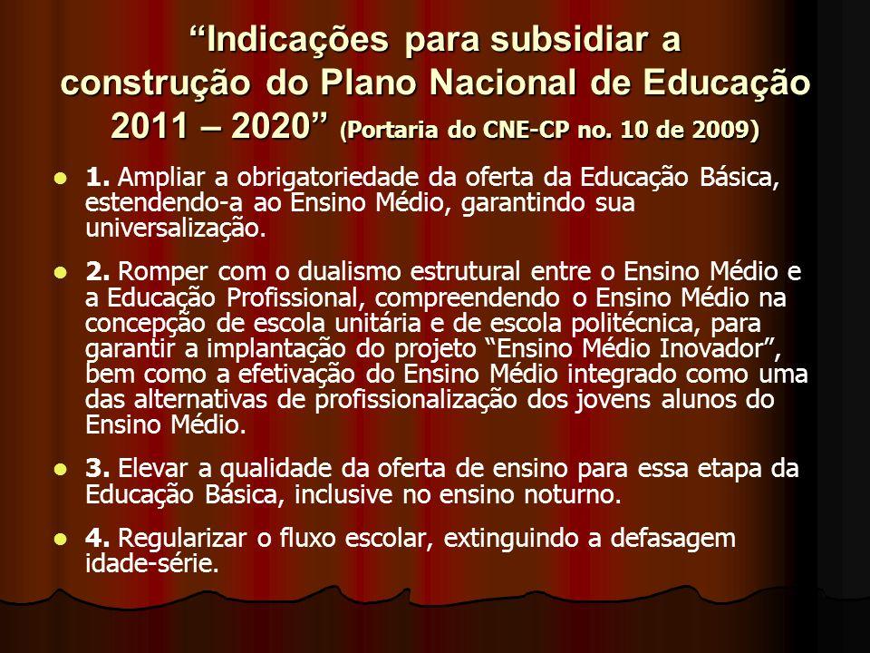 Indicações para subsidiar a construção do Plano Nacional de Educação 2011 – 2020 (Portaria do CNE-CP no. 10 de 2009)