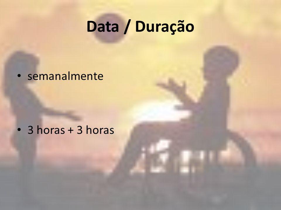 Data / Duração semanalmente 3 horas + 3 horas