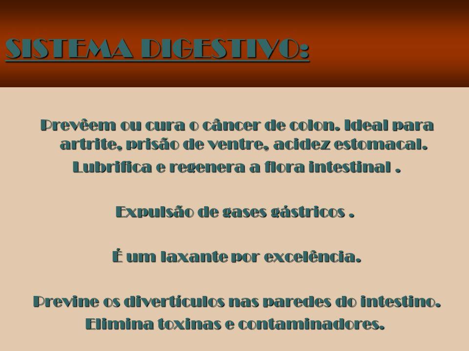 SISTEMA DIGESTIVO: Prevêem ou cura o câncer de colon. Ideal para artrite, prisão de ventre, acidez estomacal.