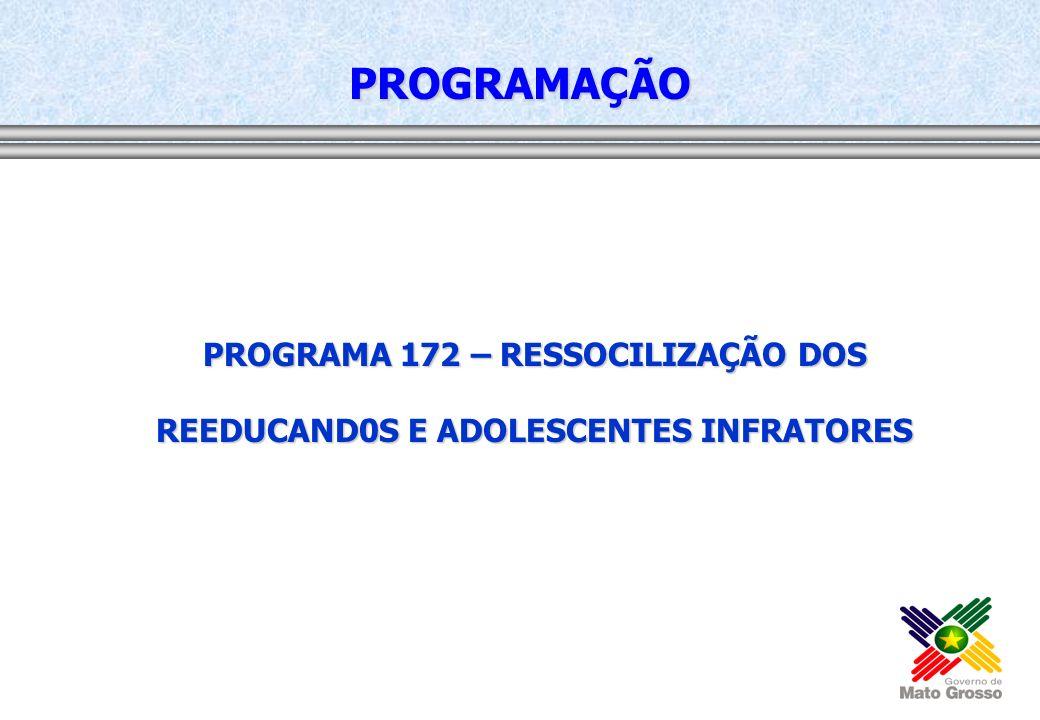 PROGRAMAÇÃO PROGRAMA 172 – RESSOCILIZAÇÃO DOS REEDUCAND0S E ADOLESCENTES INFRATORES