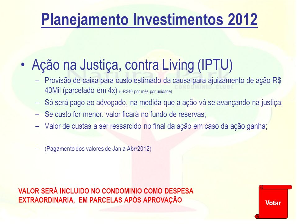 Planejamento Investimentos 2012