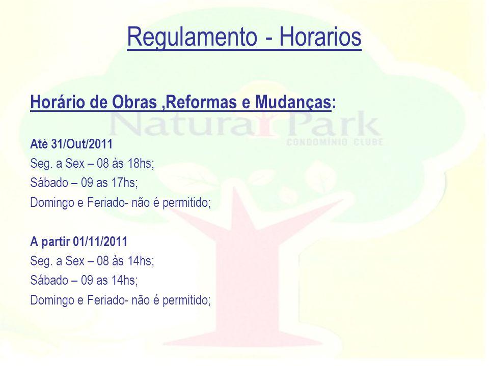 Regulamento - Horarios