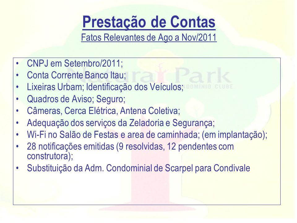 Prestação de Contas Fatos Relevantes de Ago a Nov/2011