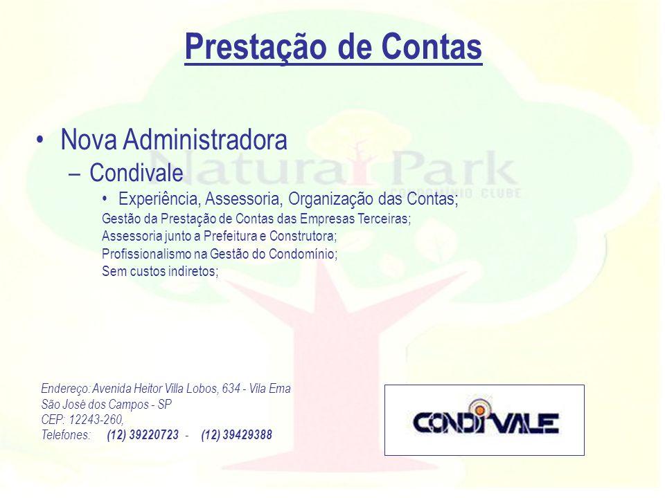 Prestação de Contas Nova Administradora Condivale