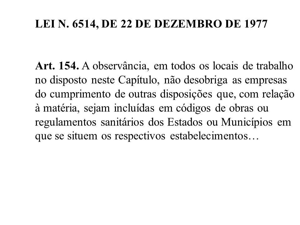 LEI N. 6514, DE 22 DE DEZEMBRO DE 1977 Art. 154. A observância, em todos os locais de trabalho.