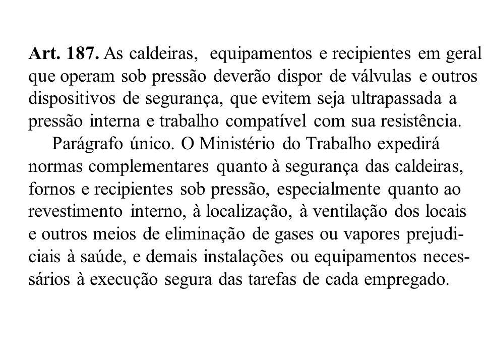 Art. 187. As caldeiras, equipamentos e recipientes em geral