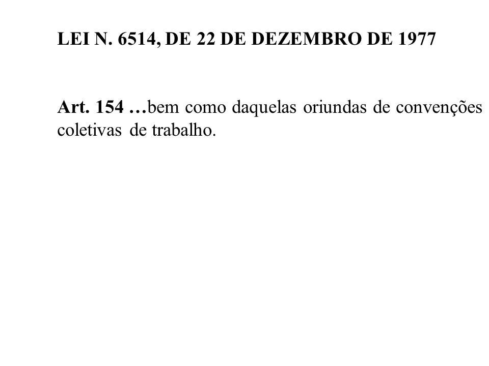LEI N. 6514, DE 22 DE DEZEMBRO DE 1977 Art. 154 …bem como daquelas oriundas de convenções.