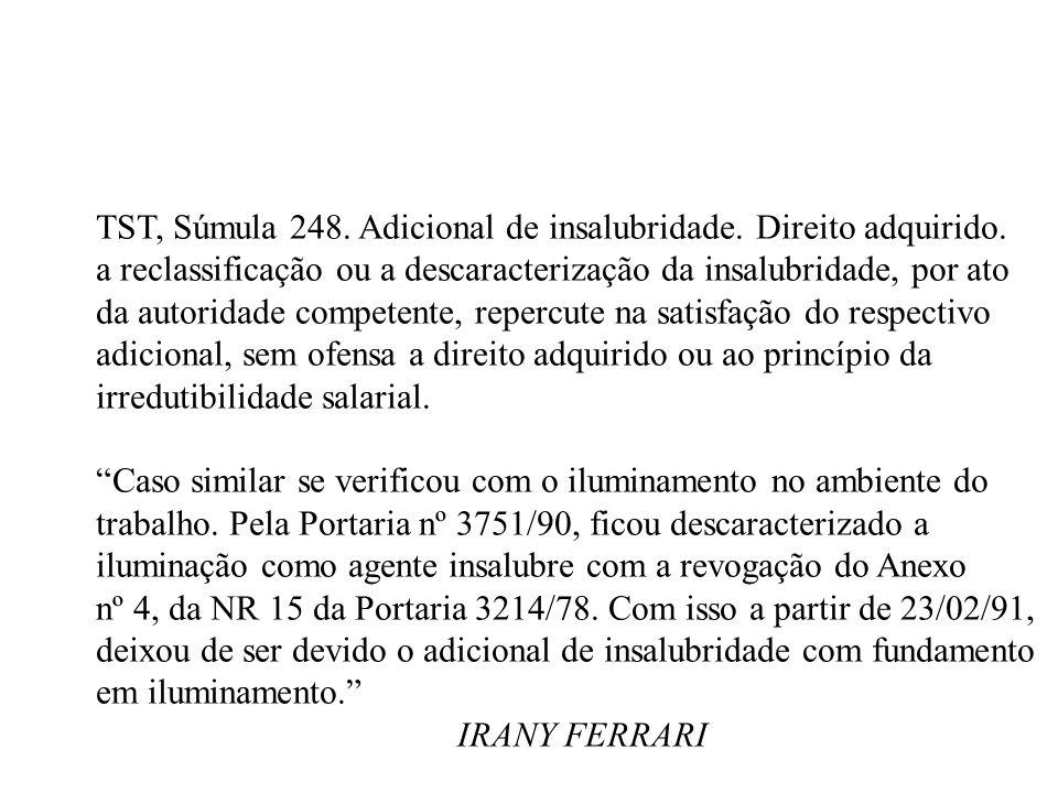 TST, Súmula 248. Adicional de insalubridade. Direito adquirido.
