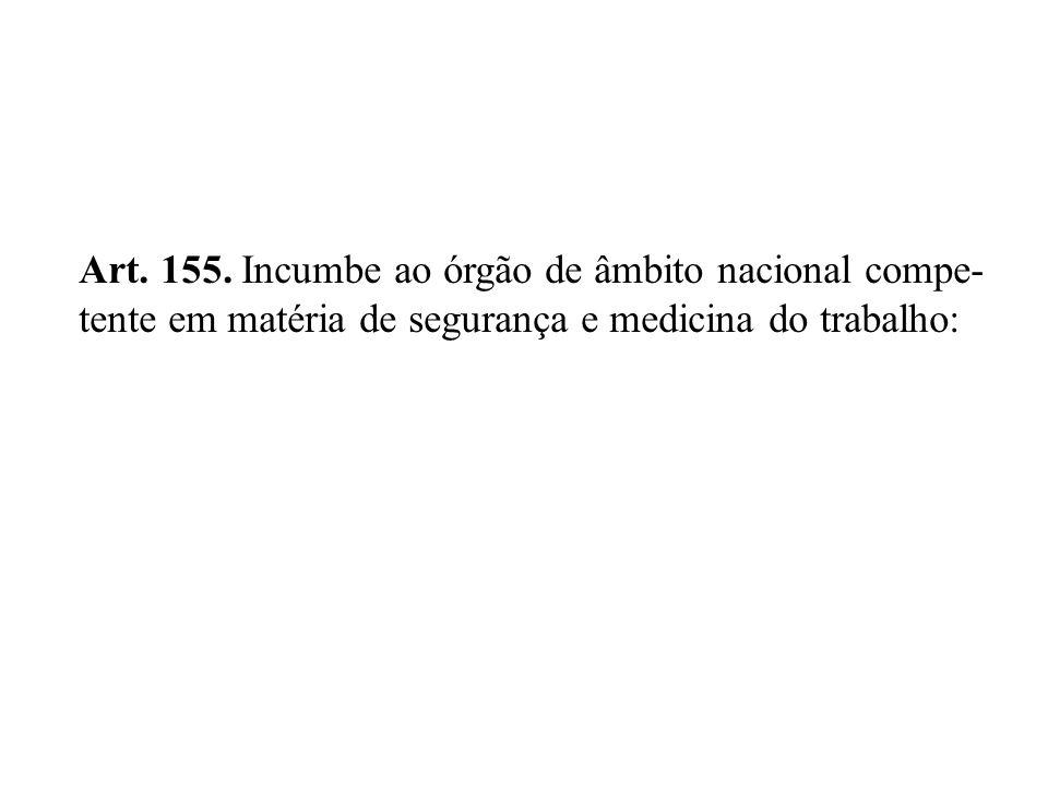 Art. 155. Incumbe ao órgão de âmbito nacional compe-
