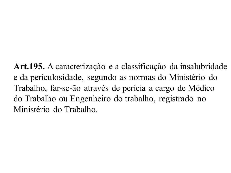 Art.195. A caracterização e a classificação da insalubridade
