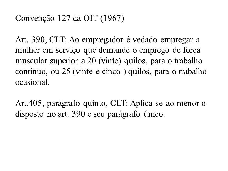 Convenção 127 da OIT (1967) Art. 390, CLT: Ao empregador é vedado empregar a. mulher em serviço que demande o emprego de força.
