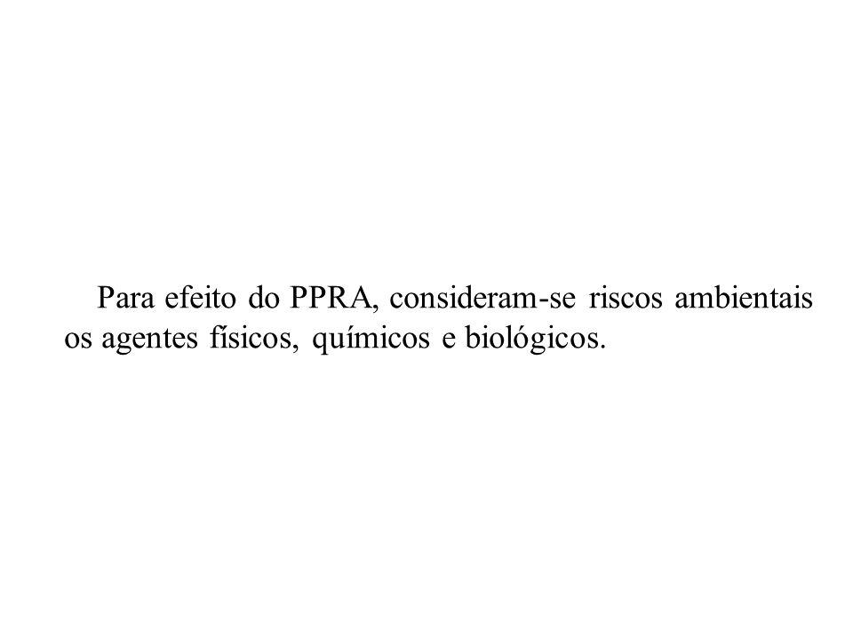 Para efeito do PPRA, consideram-se riscos ambientais