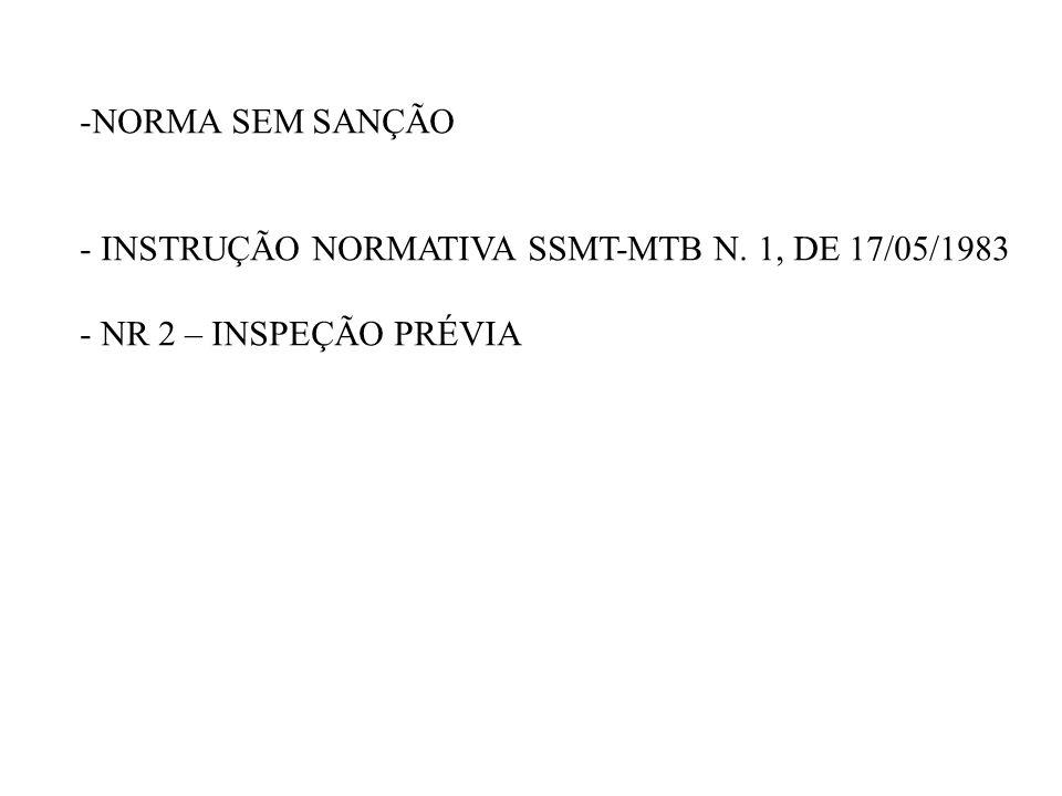 NORMA SEM SANÇÃO INSTRUÇÃO NORMATIVA SSMT-MTB N. 1, DE 17/05/1983 NR 2 – INSPEÇÃO PRÉVIA