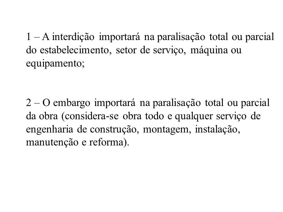 1 – A interdição importará na paralisação total ou parcial