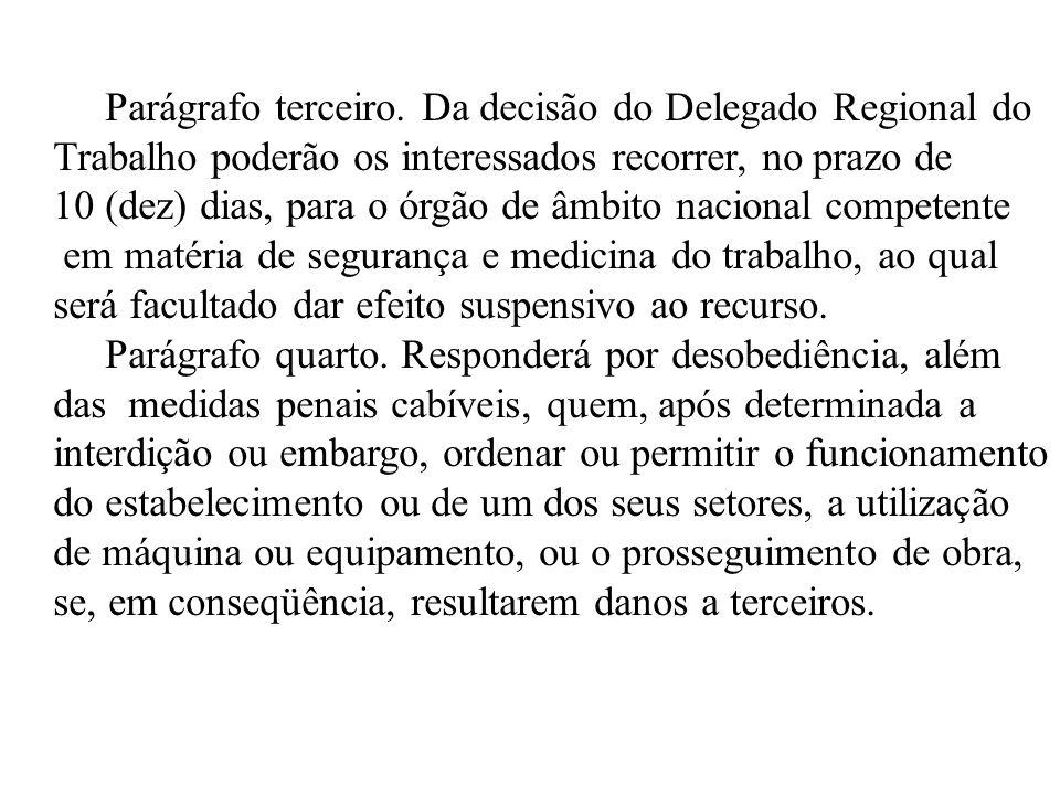 Parágrafo terceiro. Da decisão do Delegado Regional do
