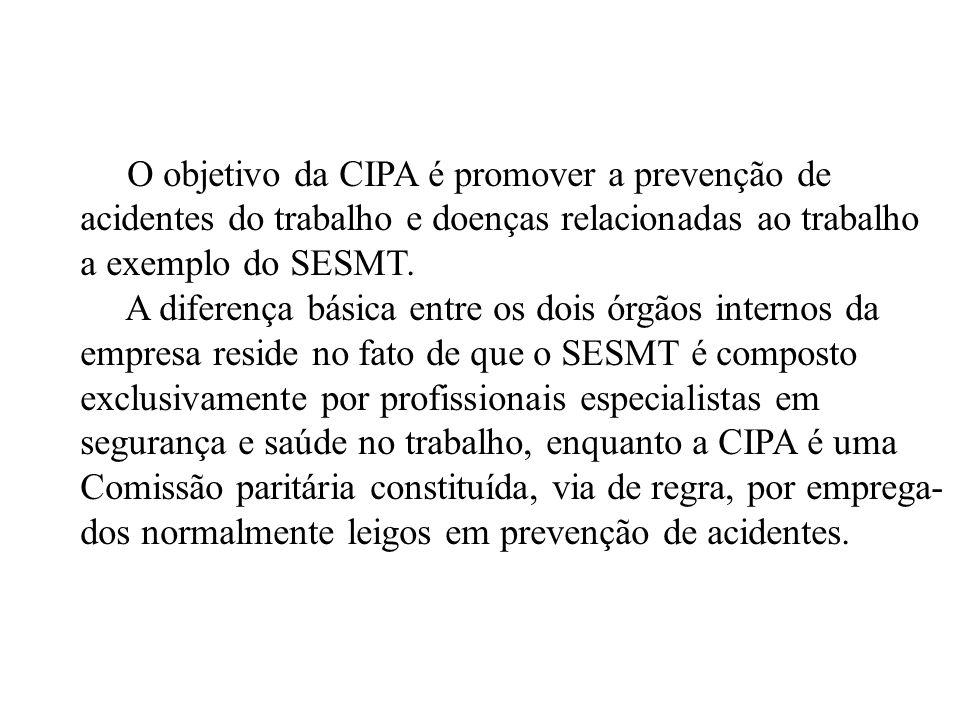 O objetivo da CIPA é promover a prevenção de