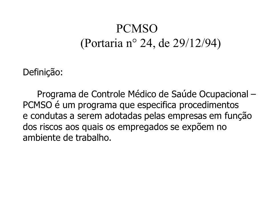 PCMSO (Portaria n° 24, de 29/12/94)