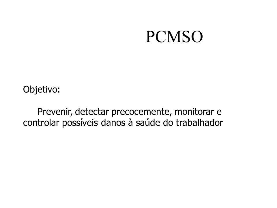 PCMSO Objetivo: Prevenir, detectar precocemente, monitorar e