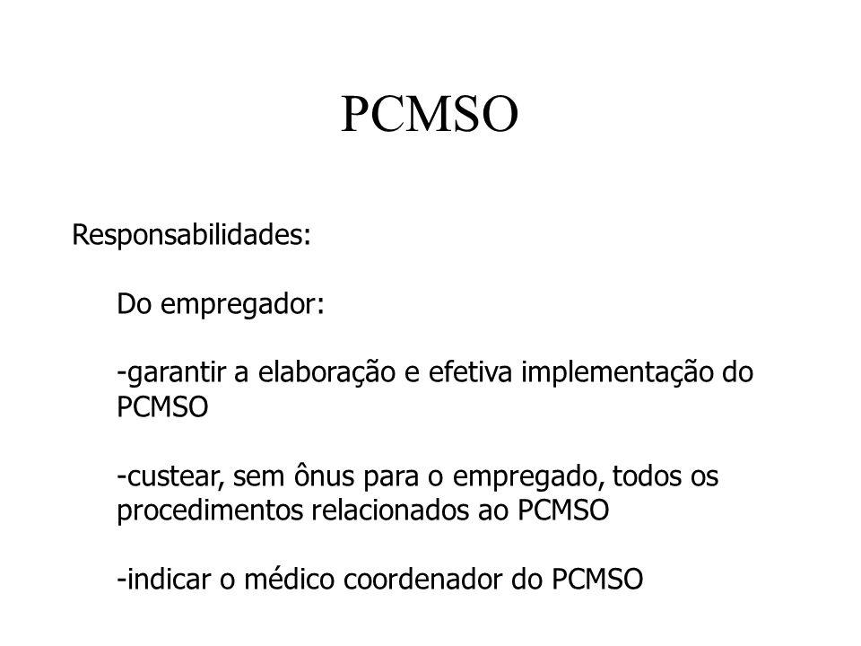 PCMSO Responsabilidades: Do empregador: