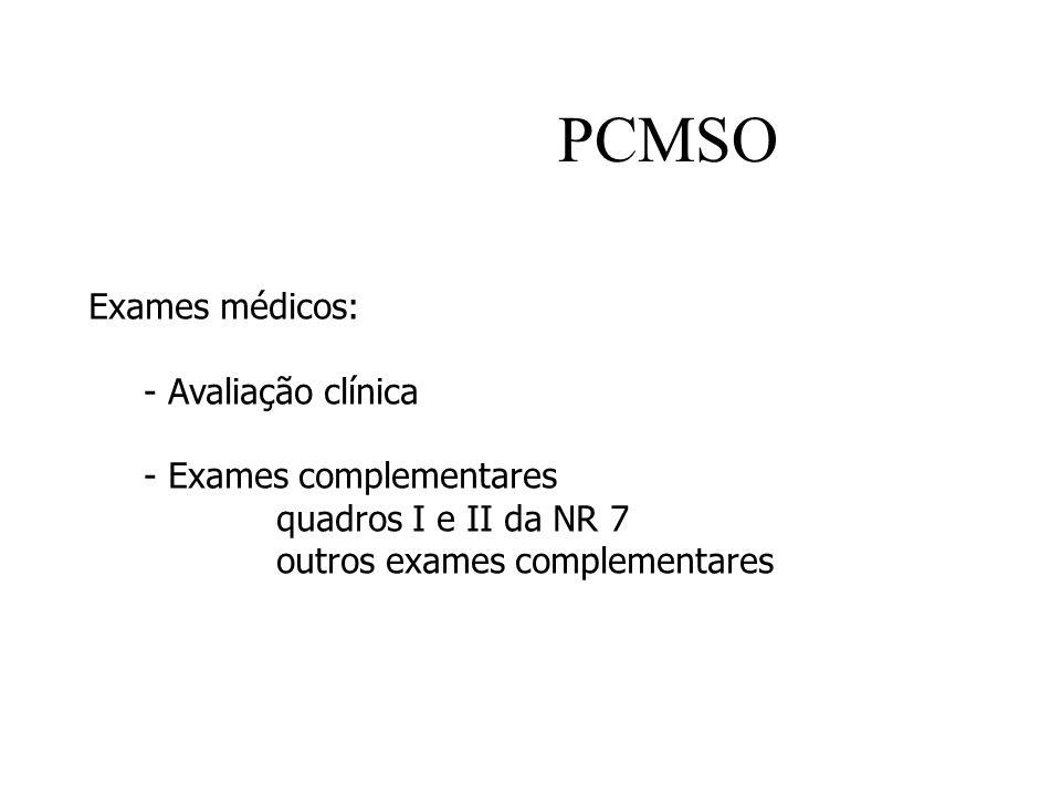 PCMSO Exames médicos: - Avaliação clínica - Exames complementares