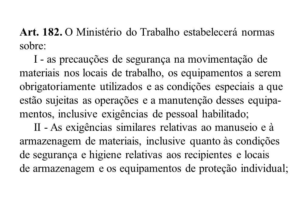 Art. 182. O Ministério do Trabalho estabelecerá normas