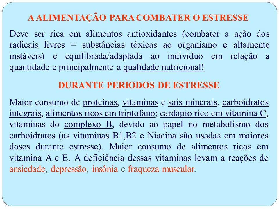 A ALIMENTAÇÃO PARA COMBATER O ESTRESSE DURANTE PERIODOS DE ESTRESSE