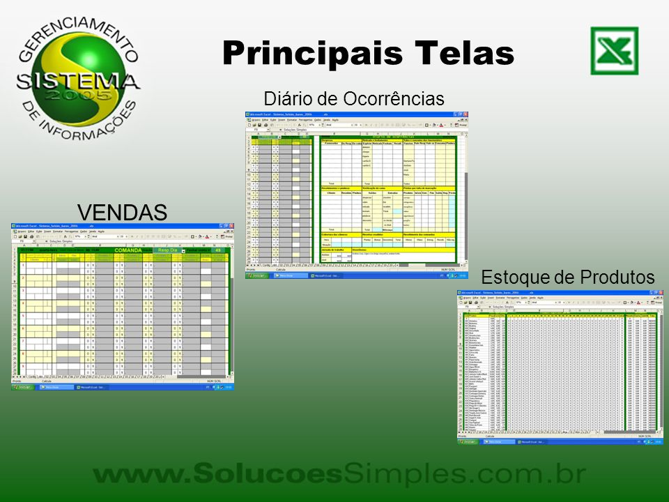 Principais Telas Diário de Ocorrências VENDAS Estoque de Produtos