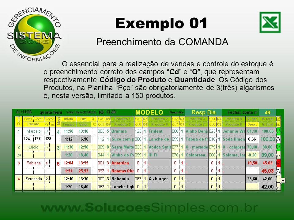 Exemplo 01 Preenchimento da COMANDA