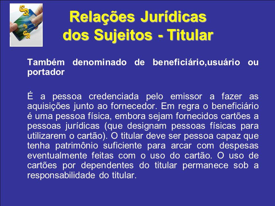 Relações Jurídicas dos Sujeitos - Titular